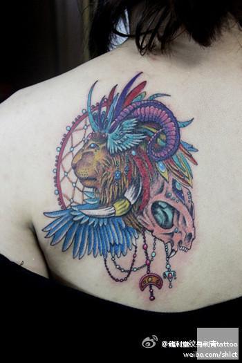 上海纹身店龙刺堂纹身作品:后背狮子头纹身