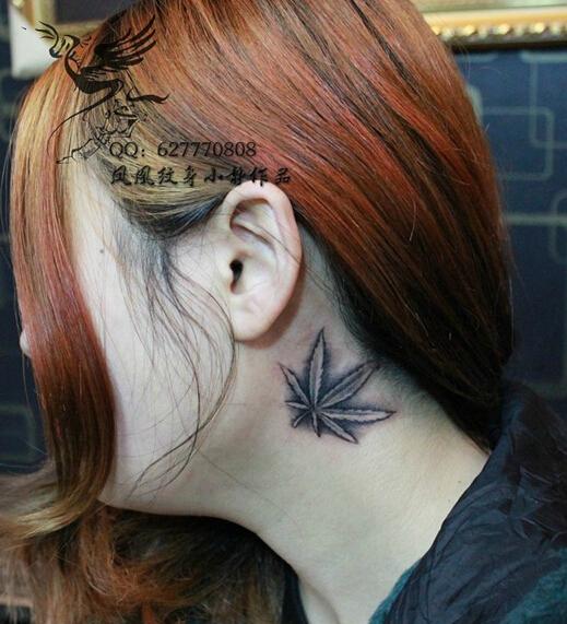 北京凤凰纹身店作品:颈部文身,枫叶纹身-北京纹身出品