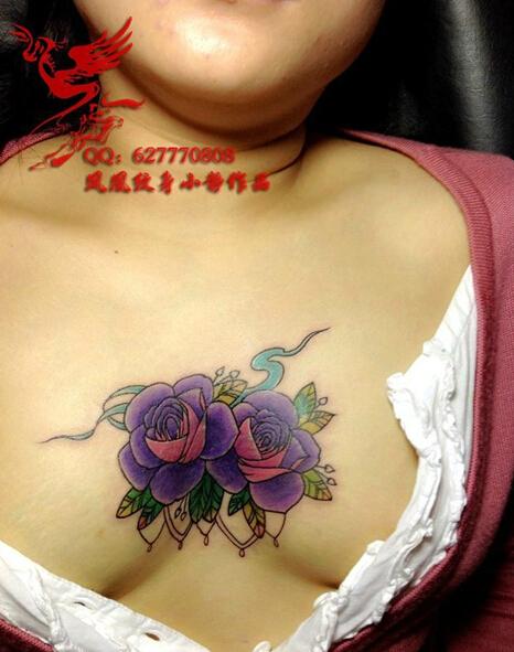 北京凤凰纹身店作品:遮盖纹身,胸部纹身-北京纹身