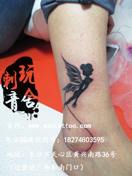 长沙玩舍纹身店作品:脚部天使精灵纹身