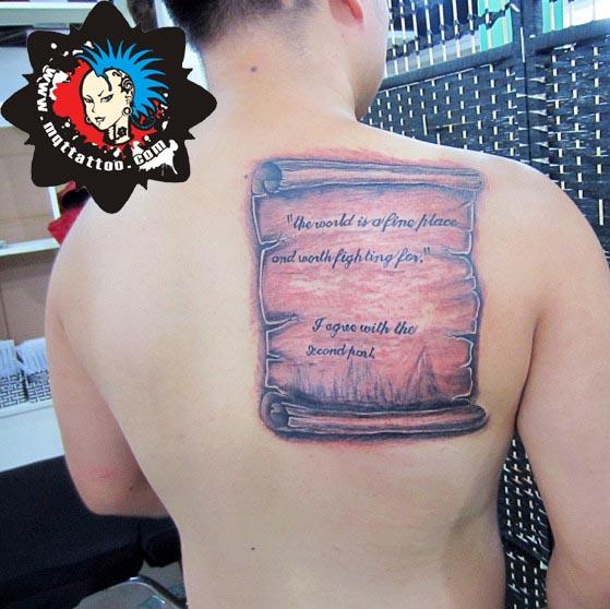 杭州墨青堂纹身店作品:背部英文字母个性纹身
