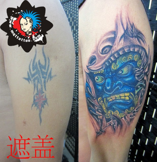 杭州墨青堂纹身店作品:手臂纹身遮盖纹身