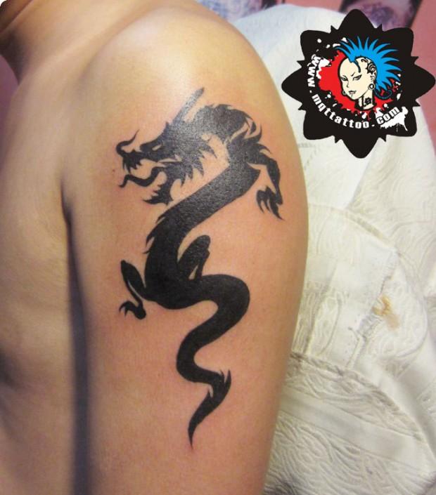 杭州墨青堂纹身店作品:手臂龙纹身