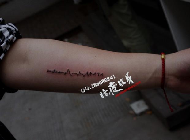 上海纹身店暗香纹身作品:手臂心电图纹身