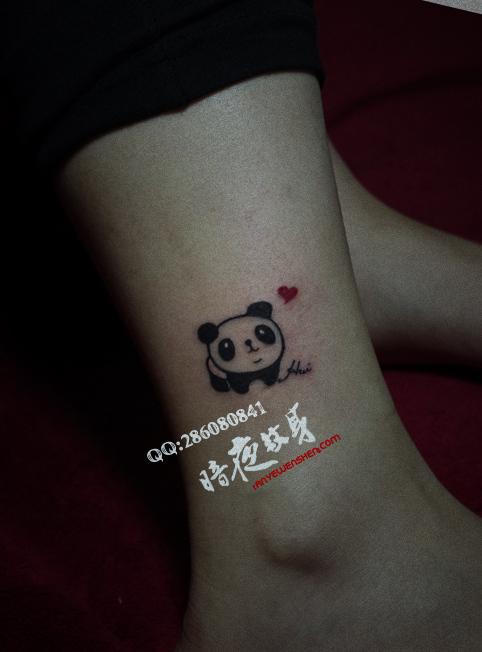 上海纹身店暗香纹身作品:图腾可爱熊猫纹身