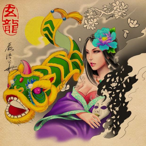 杭州纹身玄龙作品原创彩色手稿