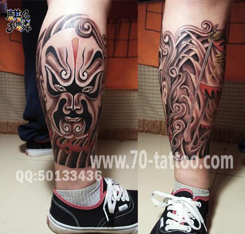 长沙麒麟纹身店作品:腿部脸谱纹身