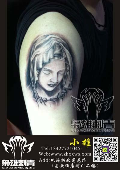 珠海枭雄纹身店作品:手臂人物美女头像纹身