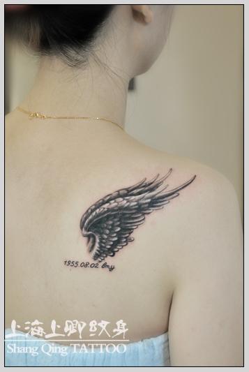 上海上卿纹身作品:翅膀纹身,桃心纹身