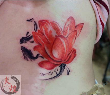 长沙炎煌纹身店作品:鲤鱼荷花纹身