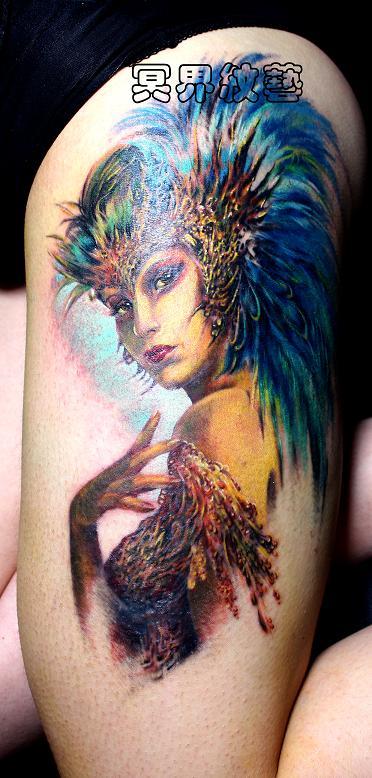 天津冥界纹身店纹身作品:孔雀女神纹身图案