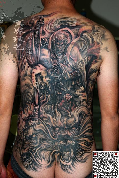 天津冥界纹身店纹身作品:满背斗战胜佛纹身图案
