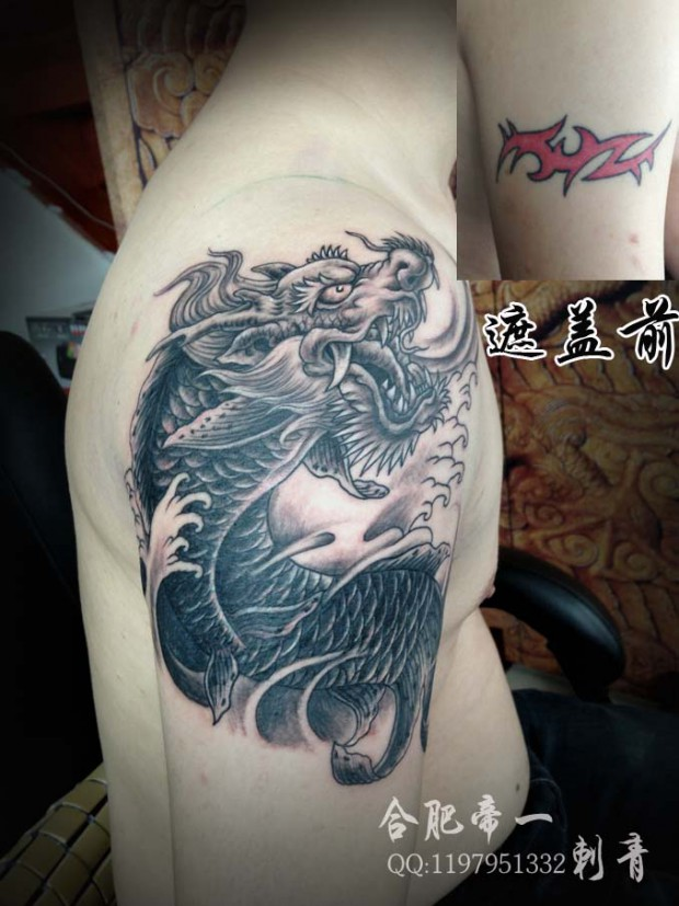 合肥帝一纹身店作品:后背荷花纹身图案|纹身图案大全
