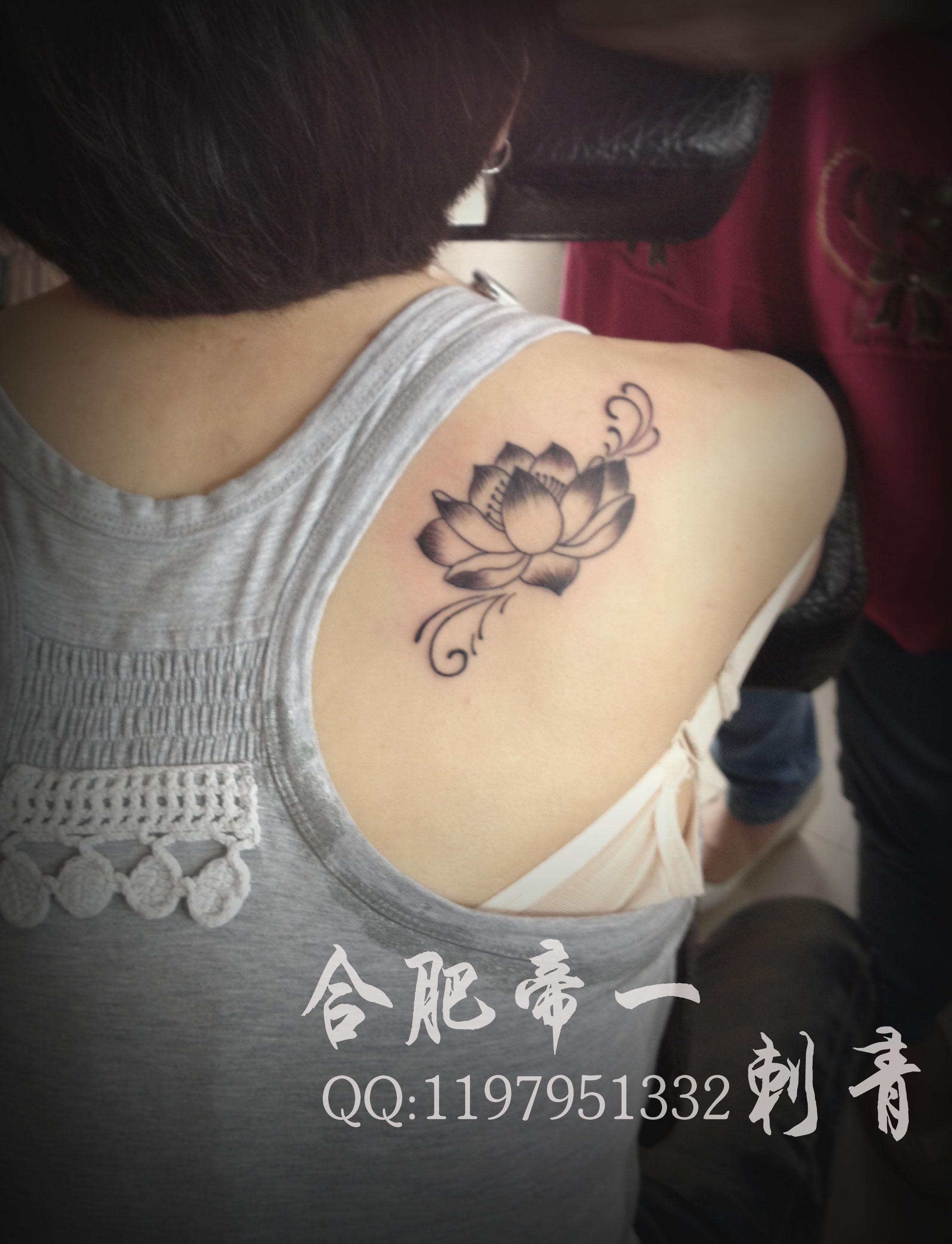 合肥帝一纹身店作品:后背荷花纹身
