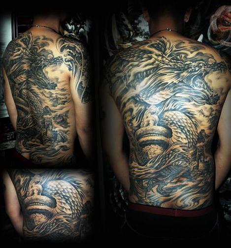 天津冥界纹身店纹身作品:龙游华夏纹身图案