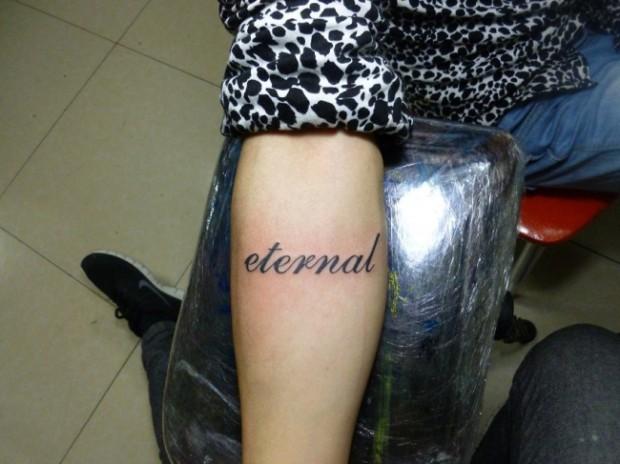 女生手绘纹身图案字母分享展示