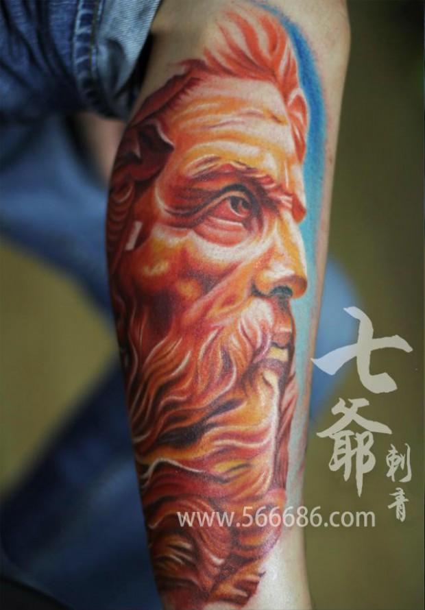 南昌七爷纹身店纹身作品:人物肖像纹身