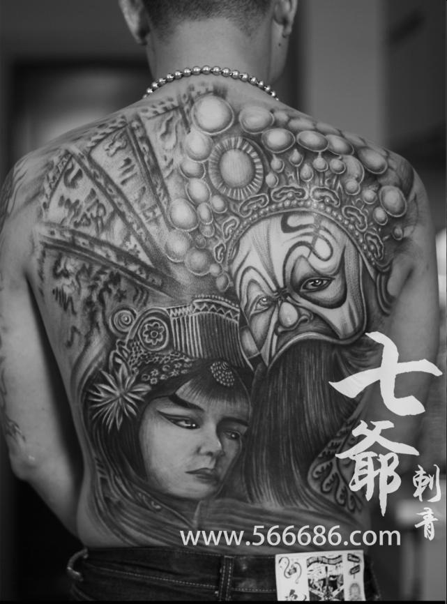 南昌七爷纹身店纹身作品:满背美女纹身图案