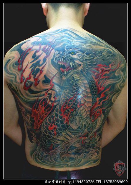 天津宝针刺青店纹身作品:满背麒麟纹身图案