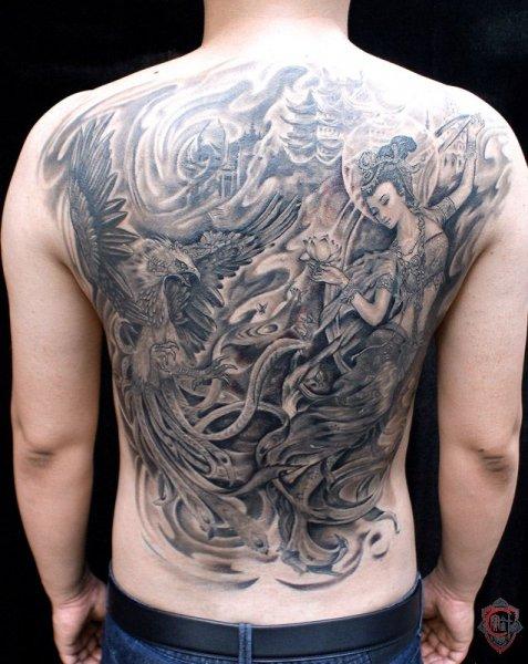 天津宝针刺青店纹身作品:飞天系列纹身图案