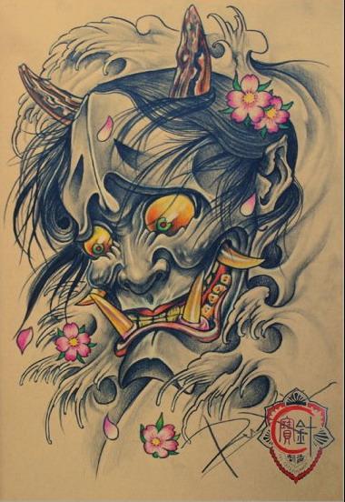 天津宝针刺青店纹身作品:般若纹身手稿图案