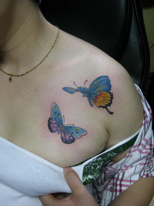 天津纹画轩纹身店纹身作品:蝴蝶纹身图案
