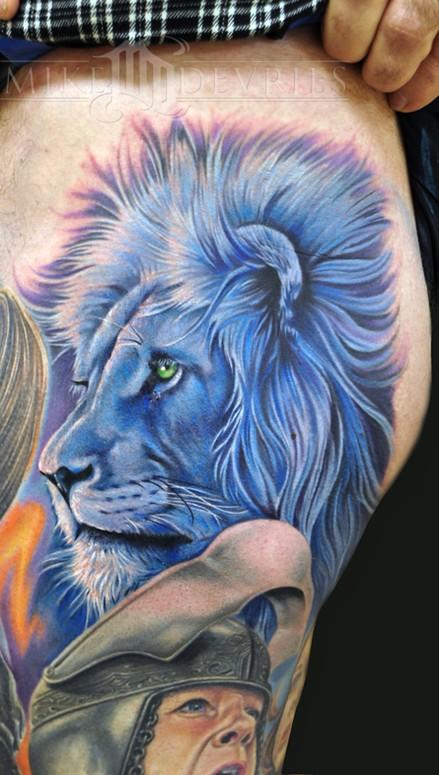 天津雕琦刺青店纹身作品:狮子纹身图案
