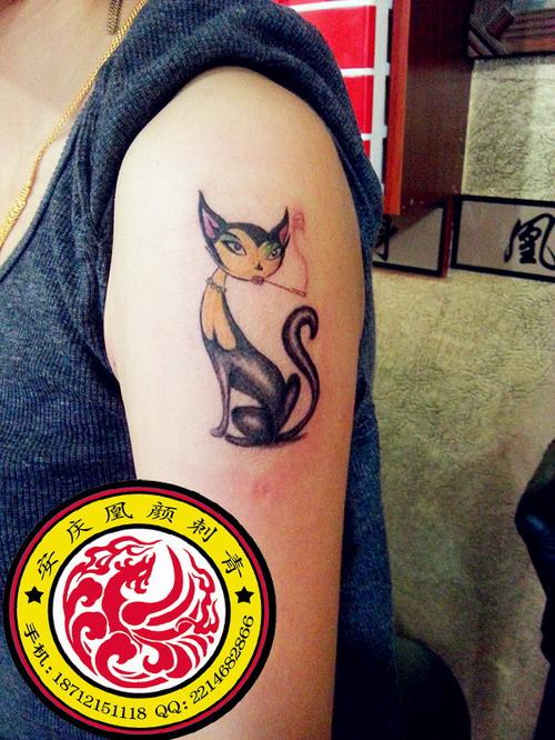 一组概念风格的猫咪与狐狸纹身图案