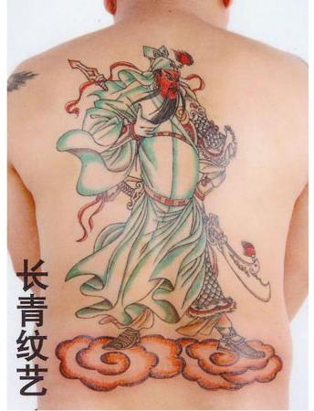 后背关羽关云长纹身图案-阜阳纹身店推荐