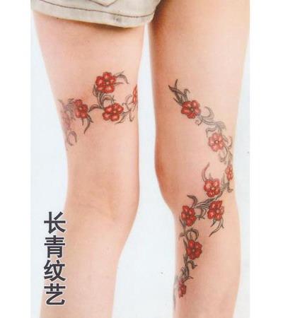 美女腿部荆棘纹身图案-阜阳纹身店推荐
