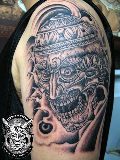 手臂哼哈二将纹身图案