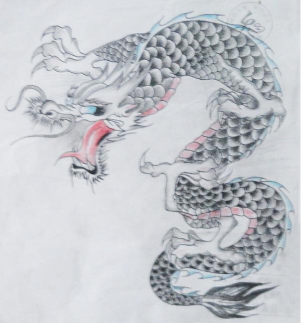 龙纹身图案手稿-蚌埠纹身店金禧纹身推荐