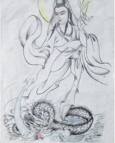 观音纹身图案手稿-蚌埠纹身店金禧纹身推荐