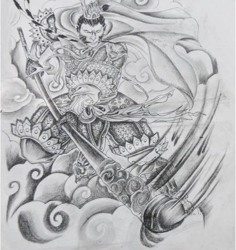 美猴王孙悟空纹身图案手稿-蚌埠纹身店金禧纹身推荐